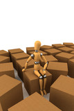 Wooden mannequin sitting on moving box poster