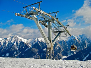 Cablecar ski lift in Alps