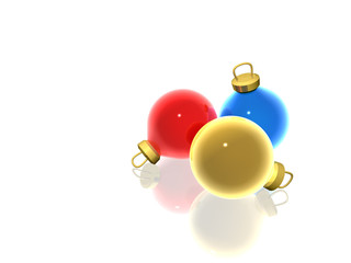 3D Render of three christmas balls with reflection.