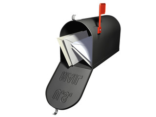 An isolated open mailbox with letters inside on white background