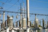 high-voltage substation on 110 000 volt poster