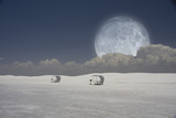 Surreal image with sleds and moon poster