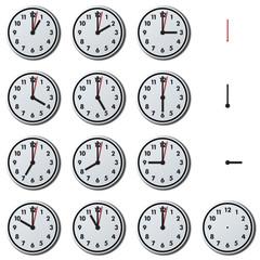 The Twenty four hour, office clock isolated