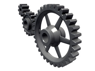 An isolated detail of three cogwheels on white background