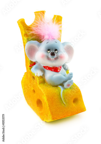 Toy mouse and cheese isolated on a white background