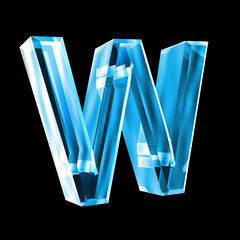 letter W in blue glass 3D