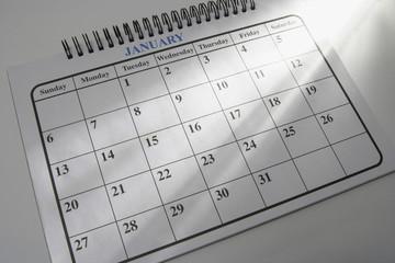 Calendar with Streaks of Light