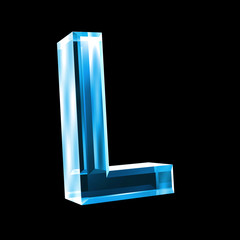 letter L in blue glass 3D