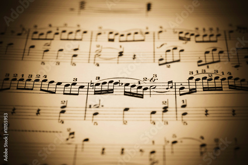close-up of an old music sheet, very shallow DOF!