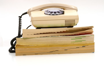 retro phone and phone book............