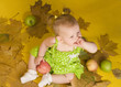 Baby with leaves and apples on yellow ground