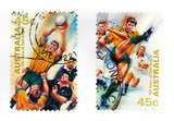 Collectible stamps from Australia. Set with test rugby sport. poster