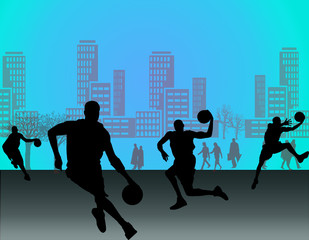 Silhouette of basketball players with street background of city