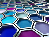 fine image 3d of blue tone hexagon background poster