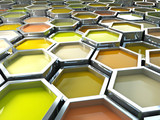 fine image 3d of yellow tone hexagon color paint poster