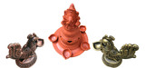Ganesha, the Hindu God, with Lamps, and Brass Lamps poster