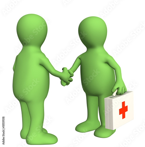 Hand shake of the doctor and the patient