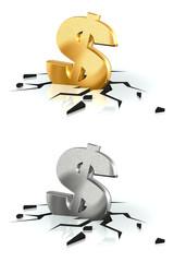 Crash du Dollar or et métal brossé sur fond blanc