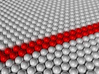 Zwei Reihen roter Bälle