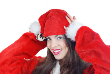 Portrait of the smiling woman in Santa costume