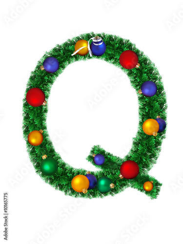 Christmas alphabet isolated on a white background - Q