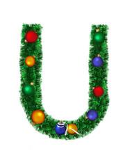 Christmas alphabet isolated on a white background - U