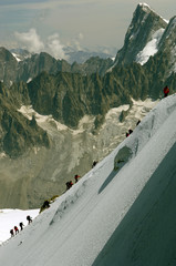 Climbers rise on mountain Mont Blanc in France