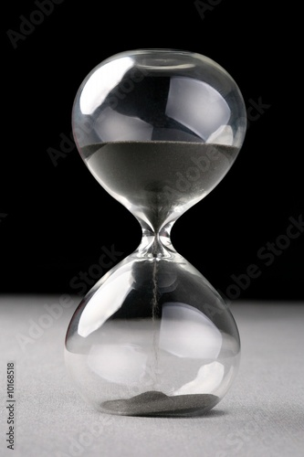 hourglass on silver and black