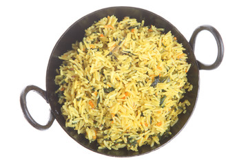 Pilau rice with spinach and carrots