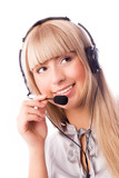 beautiful young blond woman wearing earphones with a microphone poster