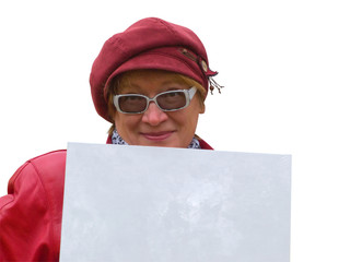 Smiling old lady in red holds an empty poster.
