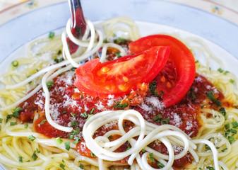 Spaghetti and tomato sauce,close up