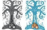 Acorn and tree of life tattoo style vector illustration poster
