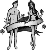 Adam and eve tattoo style vector illustration. b&w version