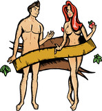 Adam and eve tattoo style vector illustration. Color version