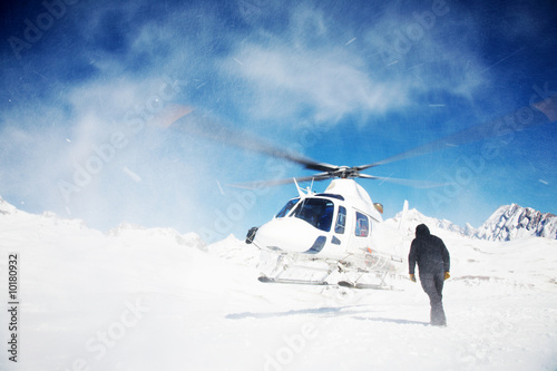 Heli Skiing Helicopter, Mont Blanc ski resort, France, Europe.