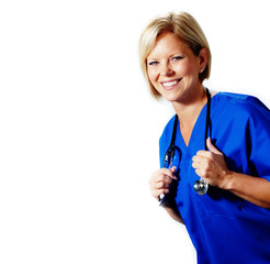 Mature nurse in blue scrubs with stethoscope.