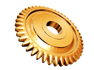 golden gear isolated on white