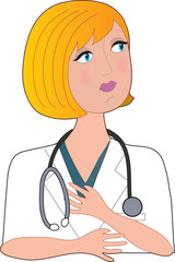 Front view of a blond caucasioan nurse with a stethoscope