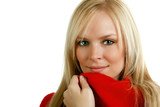Cozy Blond in a Red Sweater poster