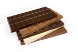 Slabs of chocolate isolated on a white studio background. poster