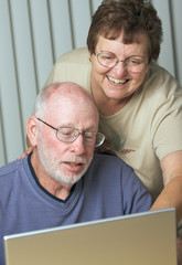 Senior Adults on Working on a Laptop Computer