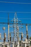 big power transmission pole on blue poster