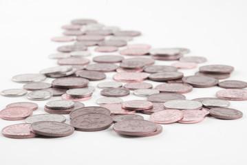 Arrow with money coins,selective focus