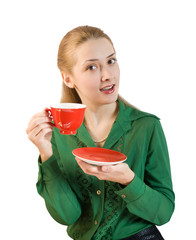 girl in green blouse with cup of  tea