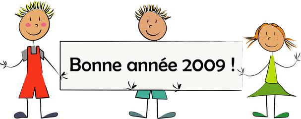 enfant panneau bonne année 2009