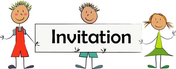 enfants panneau invitation