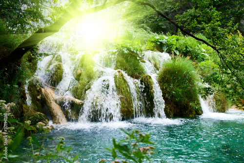 waterfall in deep forest - 10194180