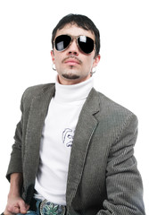 The man in sunglasses on a white background