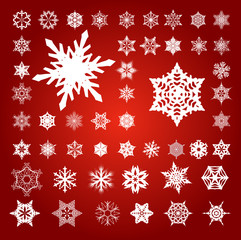 Collection of 50 Fifty White Unique Vector Snowflakes